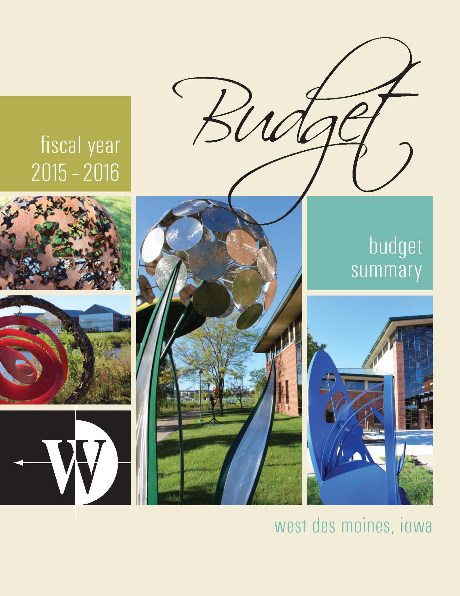 FY 15-16 budget cover
